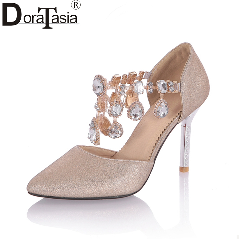 DoraTasia Fashion Large Size 33-43 Womens 2018 Women Shoes Woman Thin High Heels Buckle Pointed Toe Woman Pumps<br>
