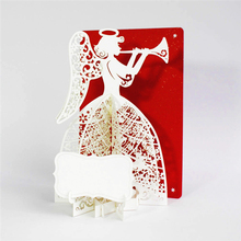 1pc Postcard Greeting Gift Cards Angel play music 3D Pop Up Greeting Card Birthday Christmas Valentine Anniversary Invitation