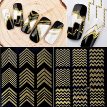 Gold Metal 3D Nail Stickers Stripes Wave Line DIY Nail Art Adhesive Manicure Transfer Sticker Water Slide Nail Tips Stickers(China)