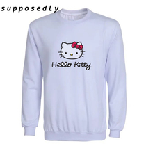 2017 New Women autumn Hello Kitty Printed cute sweatshirts Long Sleeve Cartoon women Sweatshirt Brand clothing