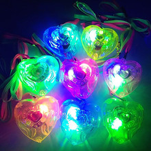 Fashion Love Heart LED Light Up Necklace Pendants Kids Children Glowing Jewelry Gift Favor Christmas Glow Party Supplies(China)