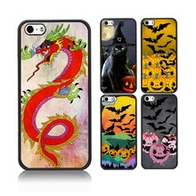 Hot Sale Chinese Dragon Case For iPhone 5 Fire Guitar Owl Witch hat Cat Soft TPU+Hard PC Protective Cover Cases For iPhone 5s SE(China)