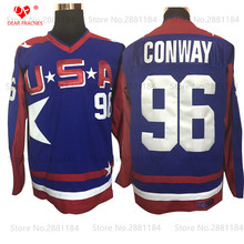 2017 Top Mens USA TEAM #96 Charlie Conway ICE Hockey Jersey Mighty Ducks Movie Jersey Stitched Sewn Purple Camisa for Men