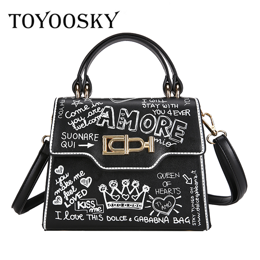 8922bafeb1ef TOYOOSKY Vintage Women Handbags Messenger Bags Box shaped Bag Letter  Printing Ladies Crossbody Shoulder Bags Small
