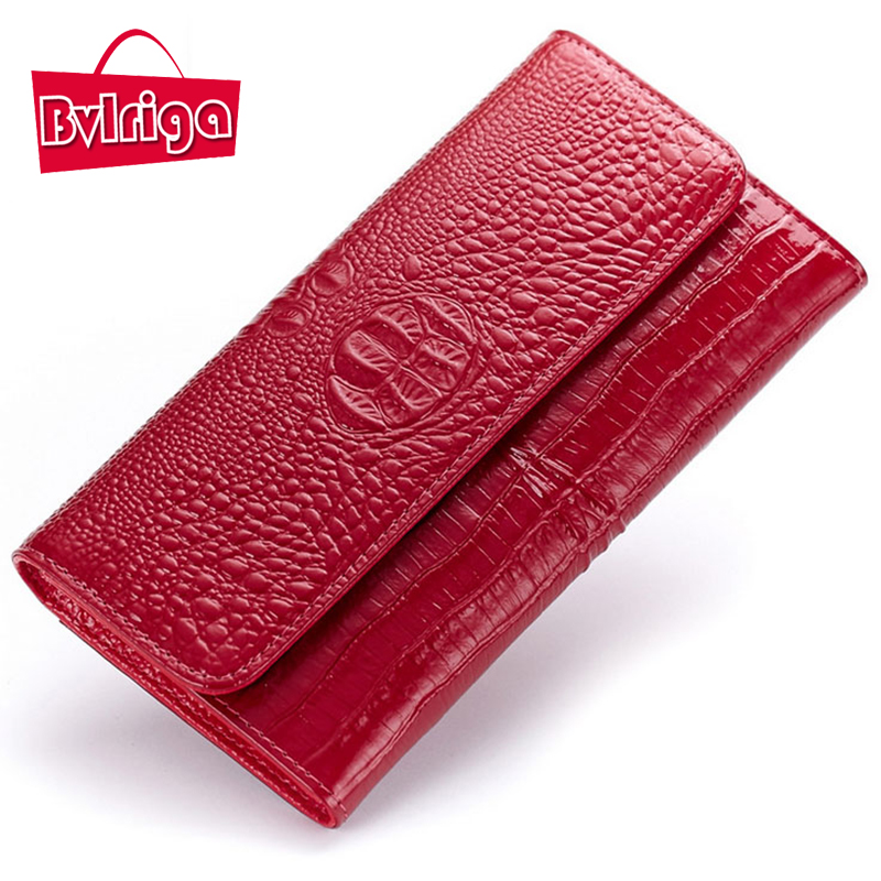 BVLRIGA Genuine leather bag lady purse women bag long wallet famous brands designer high quality crocodile clutch women wallets