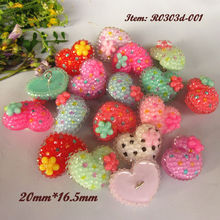 144pcs Mixed color Cute Jelly heart decorative buttons for Children shank rhinestone embellishments headwear handmade decoration