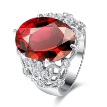 Red Oval Zircon Rings Jewelry AAA Cubic Zirconia Finger Ring Anniversary Women Trendy Rings Bijoux Gifts Wedding Party Ornament(China)