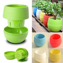 2016 2pcs/set  MINI Plastic Flower Pot Succulent Plant Flowerpot For Home Office Decoration 4 Color Garden Supplies Y1S1