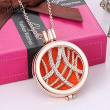 3 Strands/Lot Round Rose Gold Color Perfume Locket Necklace Fragrance Oil Pendant Necklace Diffuser Perfume Necklaces Jewelry(China)