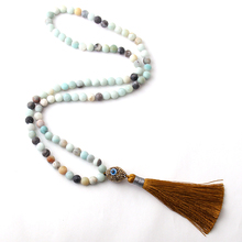 Free Shipping Amazonite Stones Bohemian Tribal Jewelry Oval Evil Eye Crystal Ball Tassel Necklace(China)