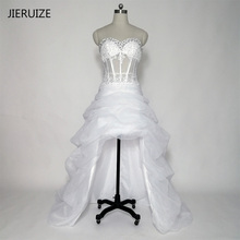 JIERUIZE White Organza Lace Appliques High Low Wedding Dresses Beading Crystal Front Short Long Back Beach Wedding Gowns(China)