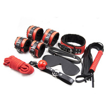 Buy 7pcs/set leather harness bondage kit hand ankle cuffs whip rope blindfold mask mouth gag collar slave handcuffs bdsm sex toys