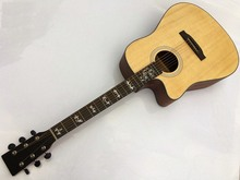 solid spruce top acoustic guitar with electric tuner free shipping(China)