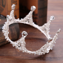 Baroque Headband Princess Handmade White Crystal Round Crown Tiara Bridal Hair Jewelry For Women Wedding Hair Accessories GL-101
