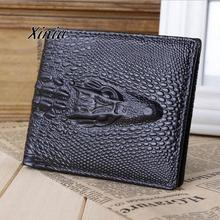 2017 New Arrival Men Business Wallets High Quality Crocodile Pattern ID Credit Card Holder Wallet Bifold Purse Clutch Pockets(China)