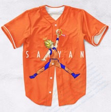Real AMERICAN USA Size Custom Made Jumpman Saiyan DBZ Fashion 3D Sublimation Print  Baseball Jersey Plus Size