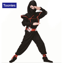2017 New Ninja Costume Halloween Party Costume Kids Boys Girls Balck Stage Costume Fashion Cosplay Funny Child Clothing Set