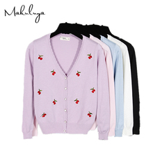 Makulya Plus Size Casual Women Cherry Embroidery Cardigan Sweater V-neck Knit Coats High Quality Winter Autumn Spring Warm QW(China)