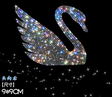 One Piece Car Crystal Sticker Self Adhesive Swan Czech Crystal Car Sticker 3D Car Accessories