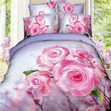 100% Cotton 3D Bedding Set  King Or Queen Pink Flower Reactive Print
