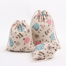 Hot Sale 3pc/lot Storage Bag Dandelion Living Room Handmade Drawstring Bag Chinese Traditional Cloth Pouch Bag S M L Size