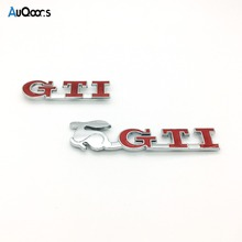 AuQoor.s Car-Styling Grille GTI Emblem Badge Sticker Car Styling For VW Volkswagen Touarge Tiguan Golf 4/5/6/7 Auto Accessories(China)