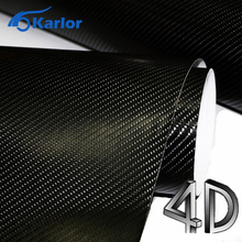 200mm x 1520mm Car Styling 4D Carbon Fiber Glossy Vinyl Wrap Sheet Film Motorcycle Automobiles Car Accessories Bubble Air Free