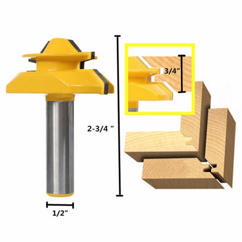 1PC Small Lock Miter Router Bit Anti-kickback 45 Degree 1/2 inch Stock 1/2 inch Shank Tenon Cutter for Woodworking Tools<br><br>Aliexpress
