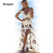 2017 Beach Floral Women Maxi Dress Chiffon Strap Long perfume Dresses female longo vestido Sexy Lady Flower Clothing White Blue