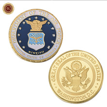 WR US Army Commemorative Gold Plated Foil Coin Great Seal of the United States Challenge Gold Coin with Round Case(China)