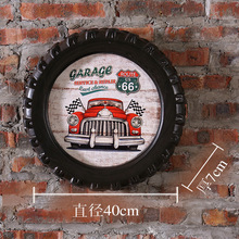 GARAGE Large Car Tires MDF Foaming Sign Vintage Wood Painting Cafe Bar Decor Retro Mural Poster Wall Sticker 40X40X7 CM