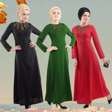 Abaya Dress Muslim Women Long Sleeve Arab Maxi Abaya Jalabiya Islamic Women Dress Clothing Robe Kaftan Abaya(China)