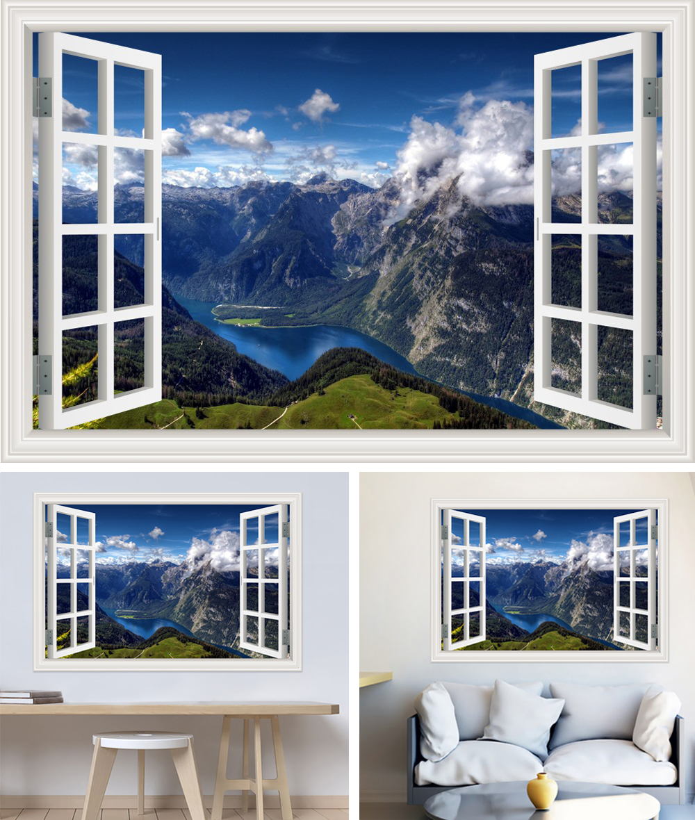 HTB1b5fch0zJ8KJjSspkq6zF7VXac - Modern 3D Large Decal Landscape Wall Sticker Snow Mountain Lake Nature Window Frame View For Living Room