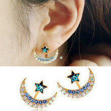 Gold Pink Blue Crystal Rhinestone Star Moon Earrings Pentacle Pendant Stud Earrings For Women Fashion Jewelry 1Pair