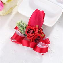 Artificial Tulip Flower Bride Wrist Flower Ribbon Corsage Bride Bridesmaid Wedding Flowers Home Party Prom Decoration
