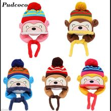 Pudcoco Brand New Winter Animal Monkey Hat &Scarf For Kids Warm Cap Baby Earflaps Fleece Inner Crochet Knitted Boy Girl Beanies