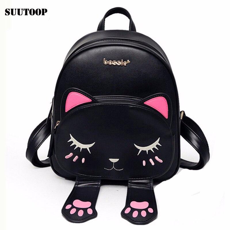 Cat bag Students school backpack for teenagers girls Back Pack School Backpacks Pu Leather Shoulder kitty Travel bags Mochila es<br><br>Aliexpress