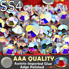 Tiny Size Quality AAA HotFix Rhinestone SS4 Clear AB Crystal 1440pcs/Bag FlatBack strass glass stone for Hot Fix DIY garment(China)