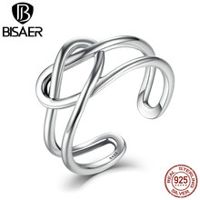 BISAER New Collection 925 Sterling Silver Twisted Rope Heart Knot Forever Ring for Women Wedding Sterling Silver Jewelry EER034