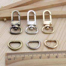 10set/lot Bronze Silver Bag Parts & Accessories Luggage bag buckle Snap hook/Dog,Bag hanger Lobster Clasp D ring 12 mm diameter(China)
