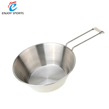 Stainless Steel Bowl with Foldable Handle Outdoor Camping Tableware Portable Folding Cookware Bowl Space-saving