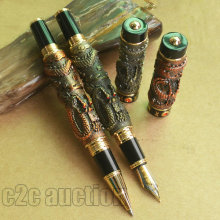 2 PCS JINHAO TWO DRAGON PLAY PEARL BRASS 0.7mm BROAD NIB FOUNTAIN PEN COPPER ROLLER BALL PEN SET