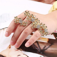 New fashion gold silver color crystal leaf  Bangles Unique Curved palm cuffs bangles  SL-350