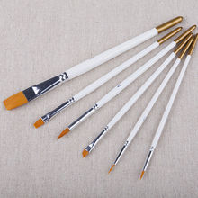 6pcs/set White Bar Acrylic Oil Painting Brushes Nylon Wool Watercolor Painting Brushes Set For Drawing Supplies