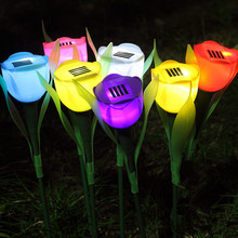 Tulip Flower Solar Powered Led Lamp Waterproof Landscape Light for Outdoor Path Yard Garden Christmas Decoration Solar Light(China)