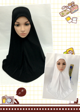 White black plain soft one piece HIJAB long 70cm