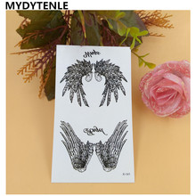 MYDYTENLE Flying Black Angel Wings Tattoo Temporary Design Water Transfer Sexy Flash Waterproof Tattoo Body Arm Feather Tatoo
