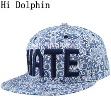 Adult hip hop hate baseball cap embroidery printing hip-hop cap equal brim beach Paisley baseball cap snapback hat gorras bone