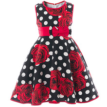 Rose Floral Girl Wedding Birthday Dress Summer Clothes Girl Kids Party Dress 2017 Children Baby Clothing Roupas Infantis Menina(China)
