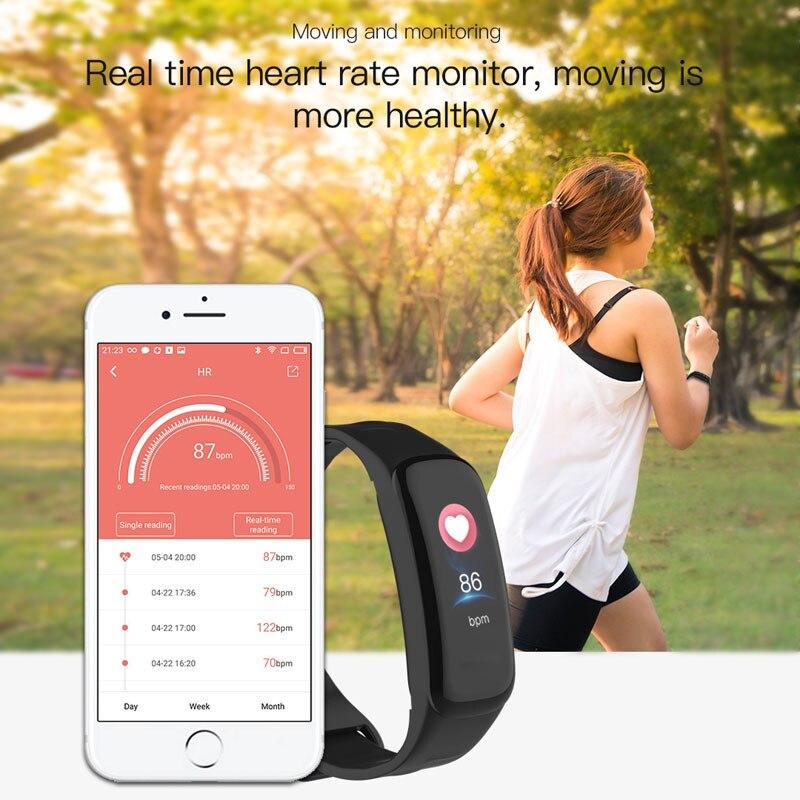 Original C1Plus Smart Bracelet Color Screen Blood Pressure Waterproof Fitness Tracker Heart Rate Monitor pk fitbits miband 3 8
